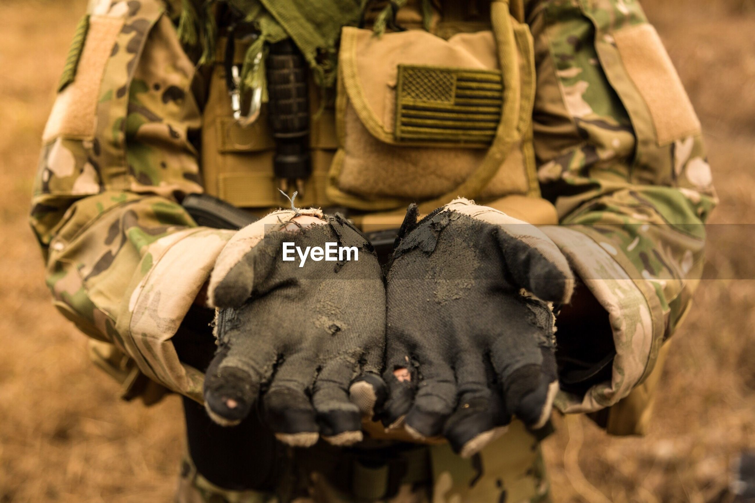 Man wearing camouflage clothing