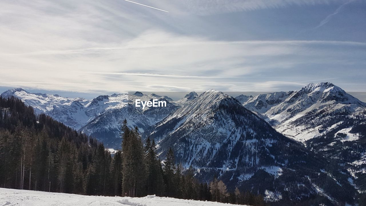 winter, snow, cold temperature, mountain, scenics - nature, beauty in nature, sky, tranquil scene, environment, tranquility, cloud - sky, snowcapped mountain, mountain range, non-urban scene, landscape, nature, no people, day, tree, outdoors, mountain peak, range