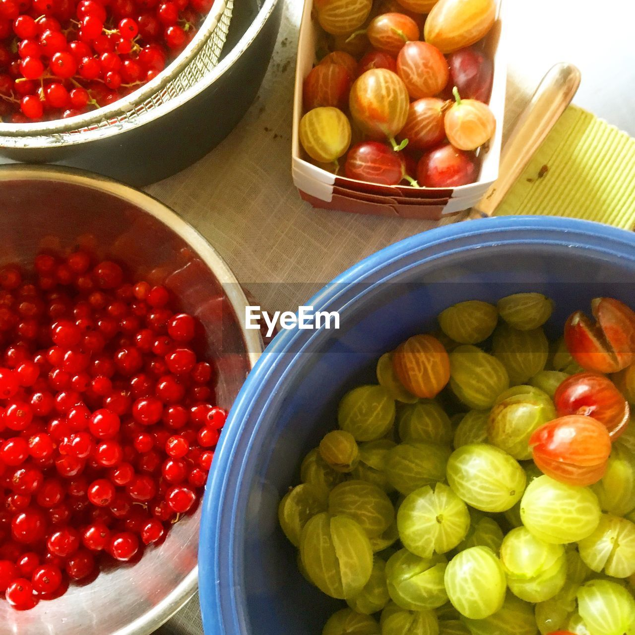 High angle view of fruits in market stall