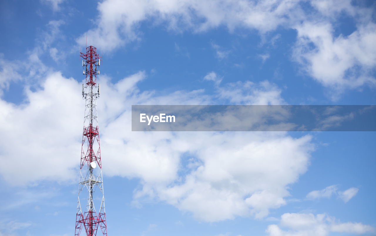 cloud - sky, sky, low angle view, technology, global communications, tower, satellite, built structure, satellite dish, day, communication, connection, wireless technology, broadcasting, nature, architecture, tall - high, no people, blue, outdoors, station, radio wave