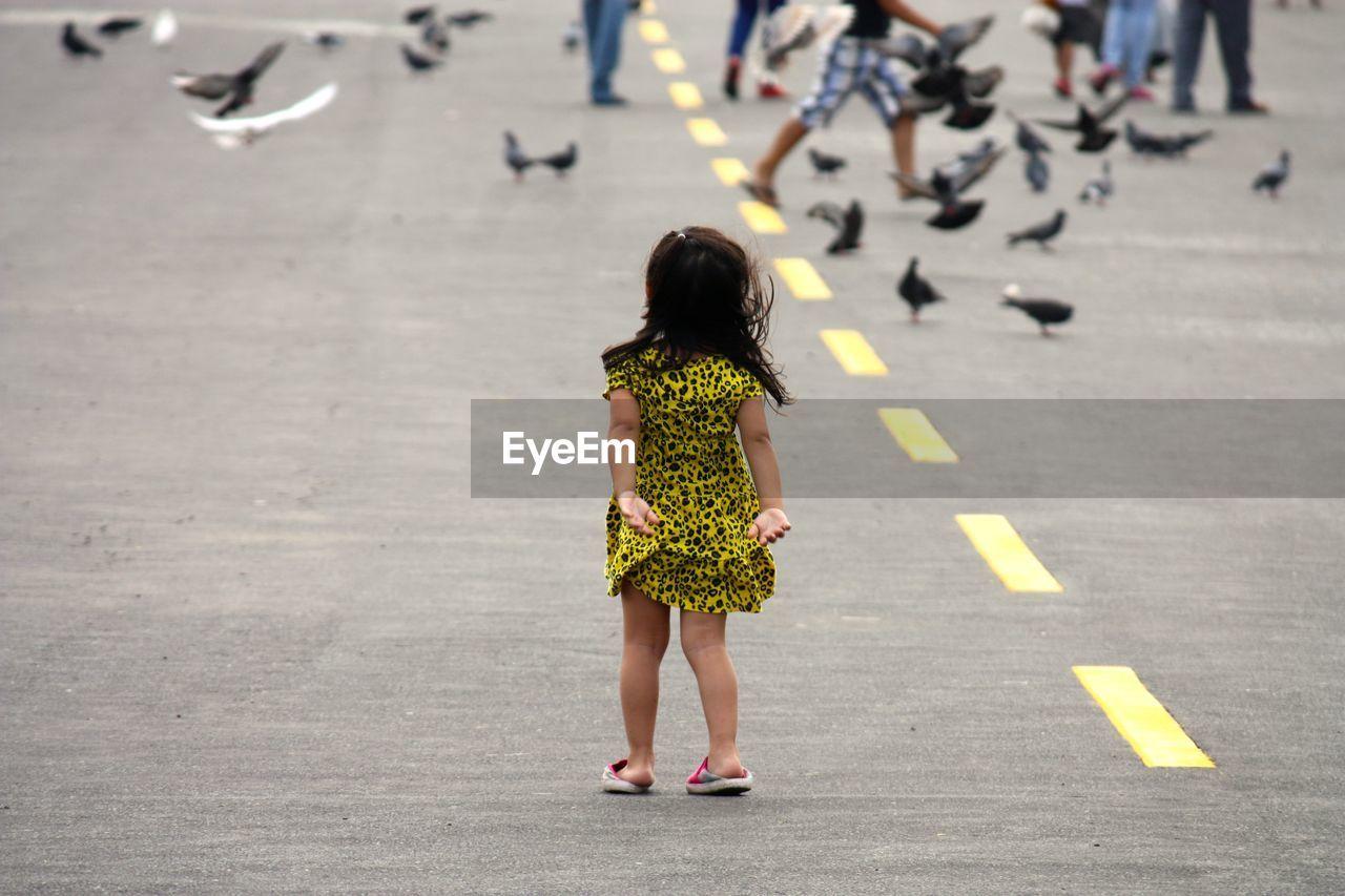 Full Length Rear View Of Girl Standing On Street