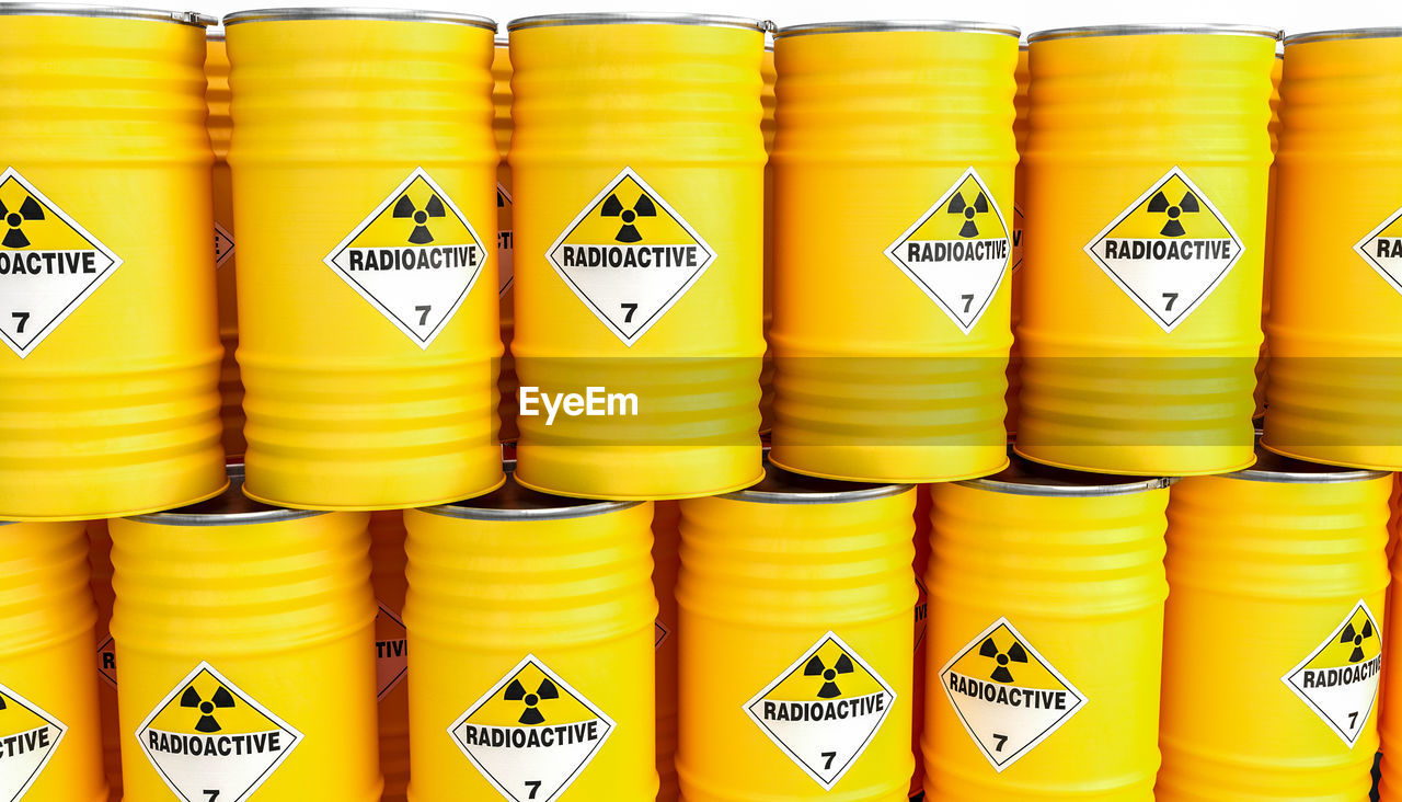 Full frame shot of yellow radioactive containers