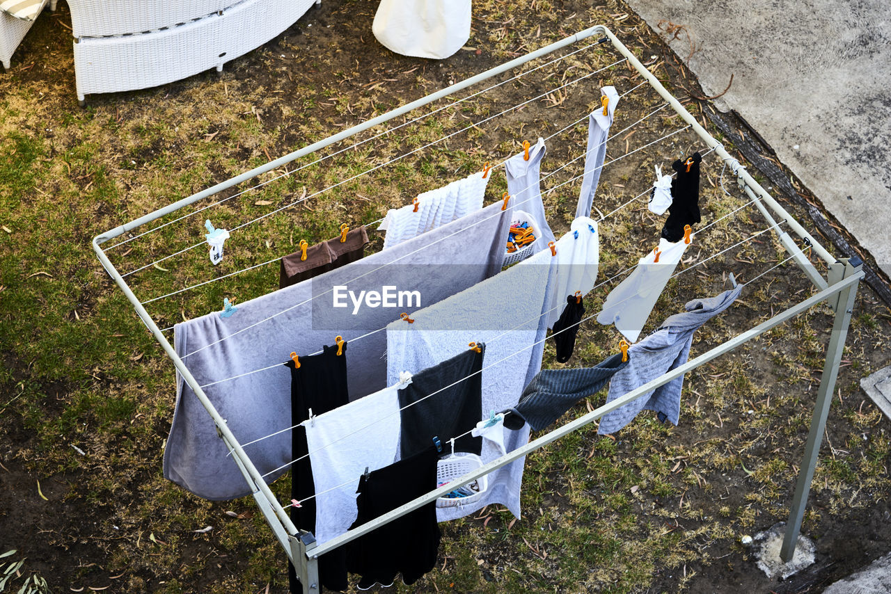 High Angle View Of Clothes Drying On Clotheslines