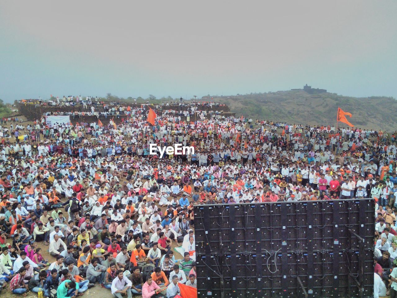 Crowd Watching Celebration On Screen During Festival
