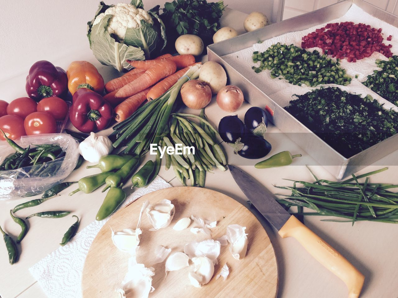 High angle view of vegetables on floor