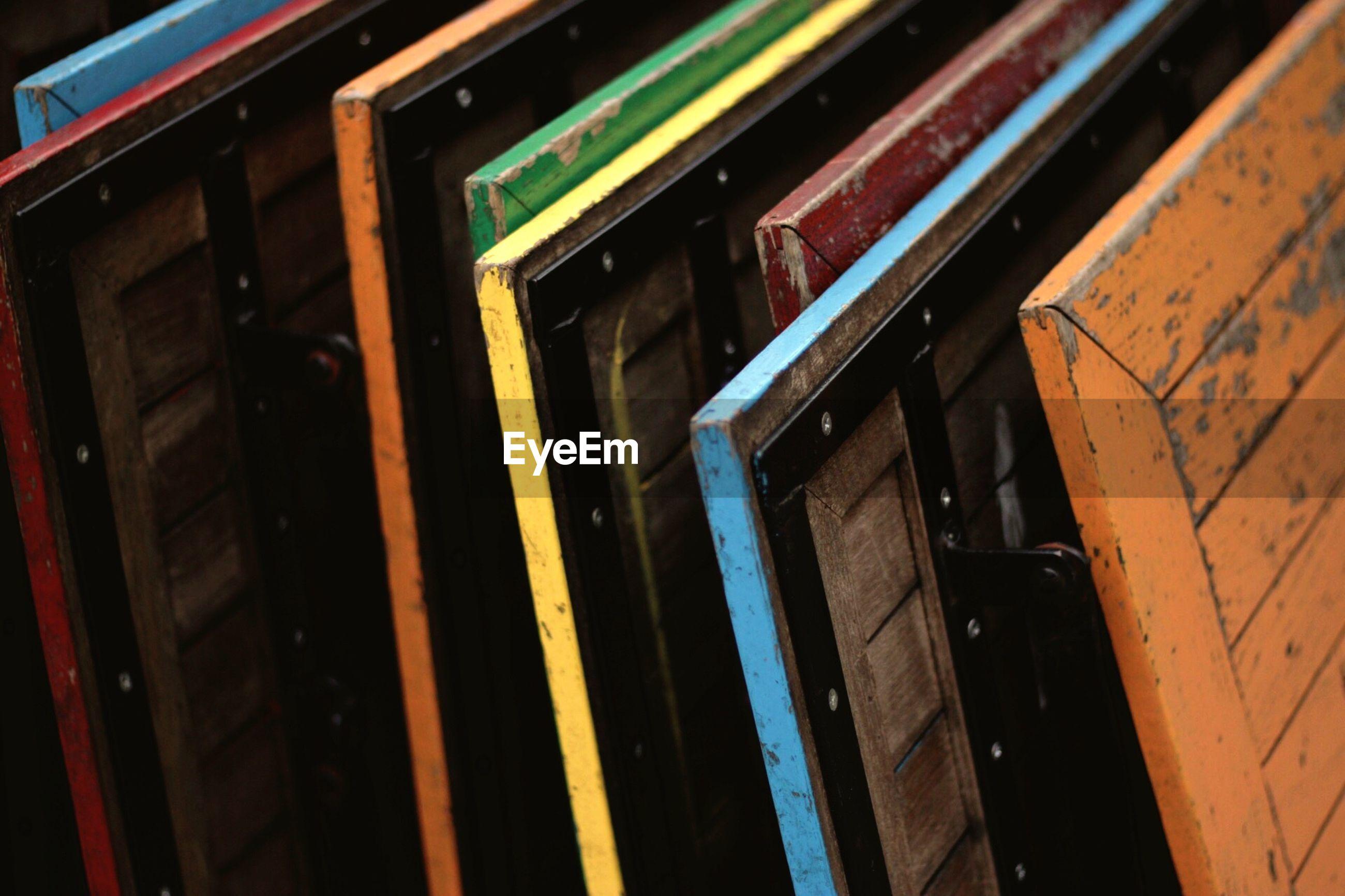 Full frame shot of multi colored folded tables