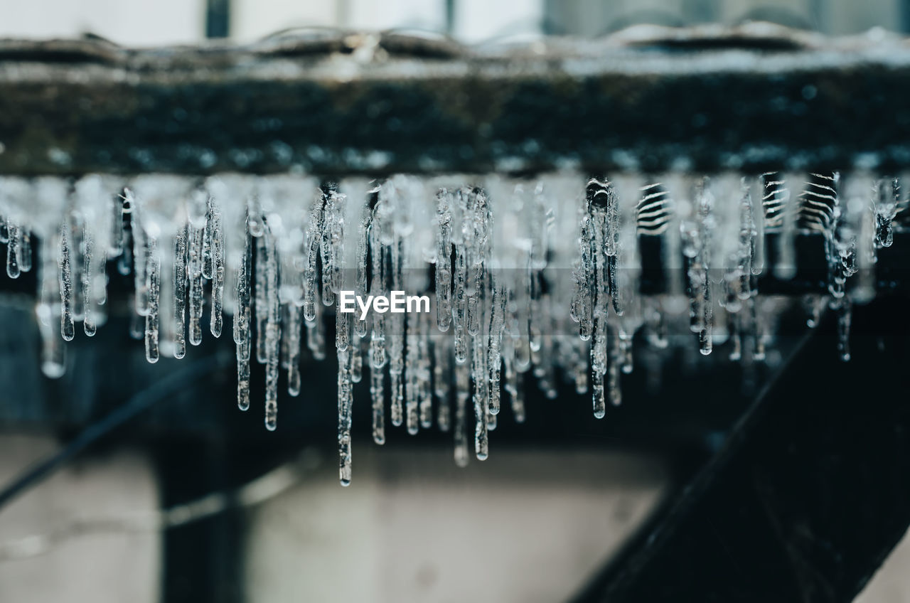 Close-up of icicles against blurred background