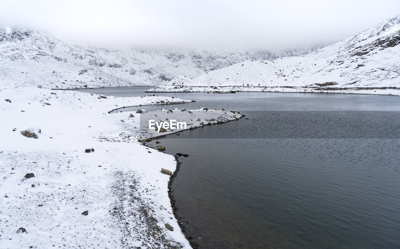 water, beauty in nature, scenics - nature, cold temperature, tranquil scene, winter, tranquility, mountain, snow, day, no people, nature, non-urban scene, idyllic, sky, frozen, waterfront, snowcapped mountain, outdoors