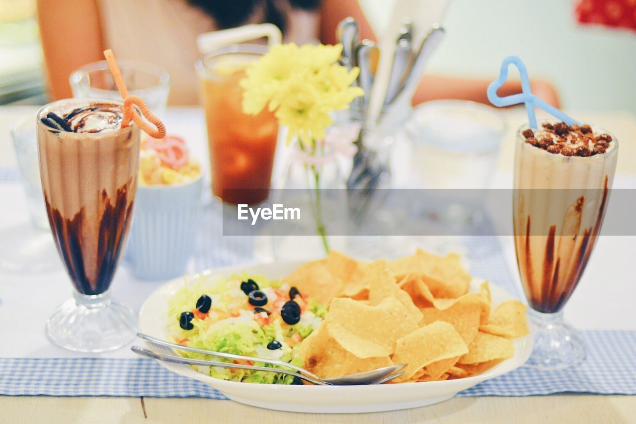 Close-Up Of Ice Cream In Plate On Table