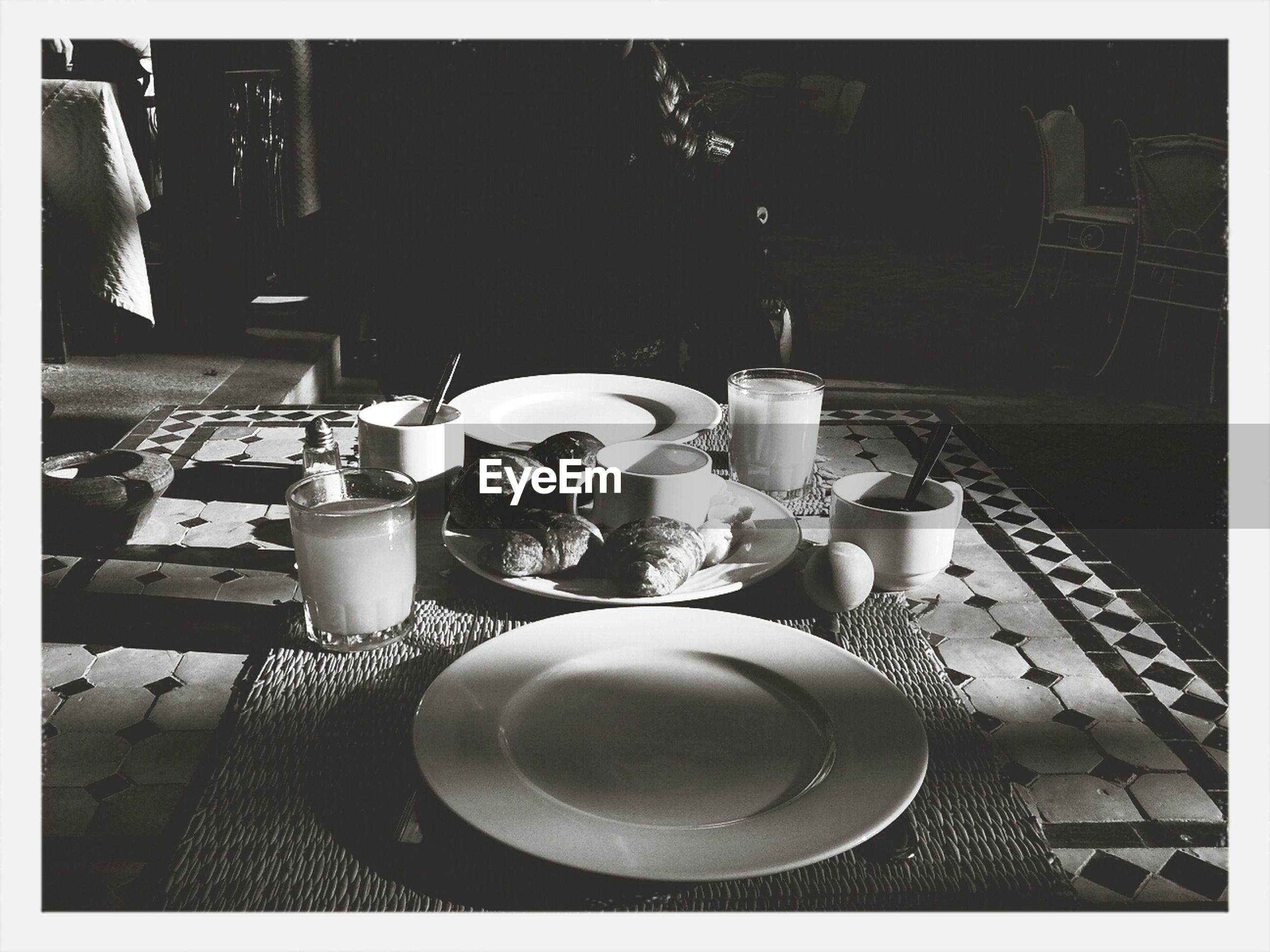 Breakfast on mat in house