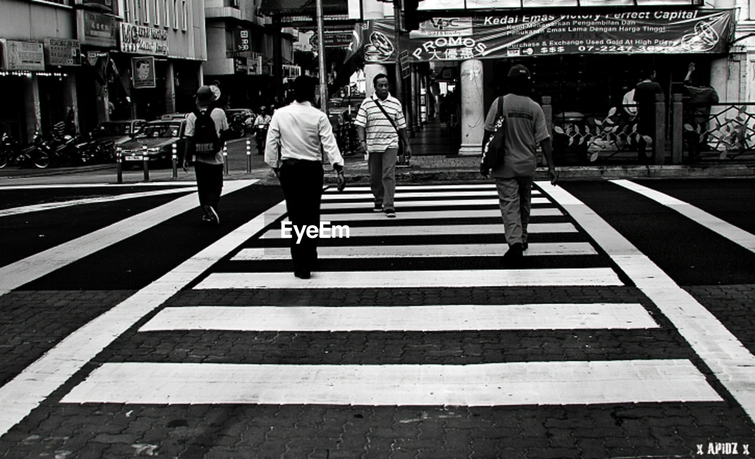 walking, rear view, men, person, street, city, full length, lifestyles, city life, building exterior, zebra crossing, built structure, leisure activity, road marking, architecture, casual clothing, road, the way forward, day