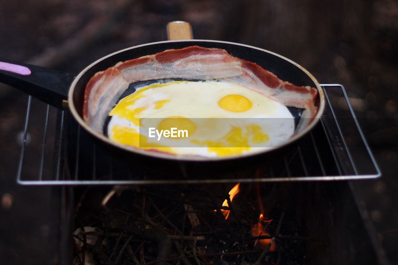 Close-Up Of Preparing Fried Egg