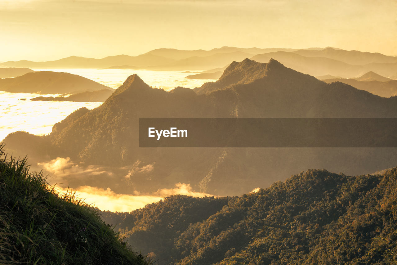 Panoramic View Of Mountains During Sunset