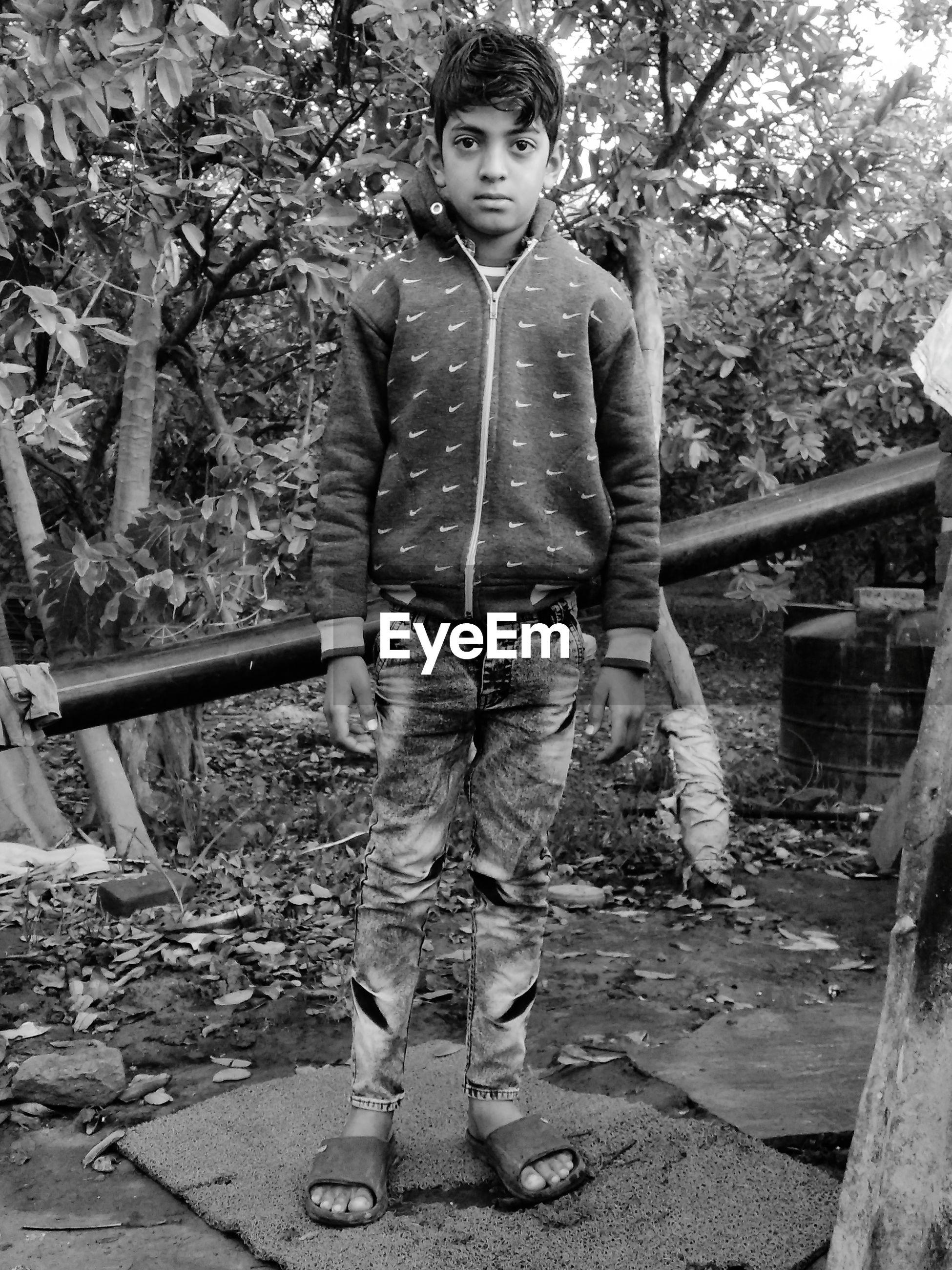 Portrait of boy standing by tree