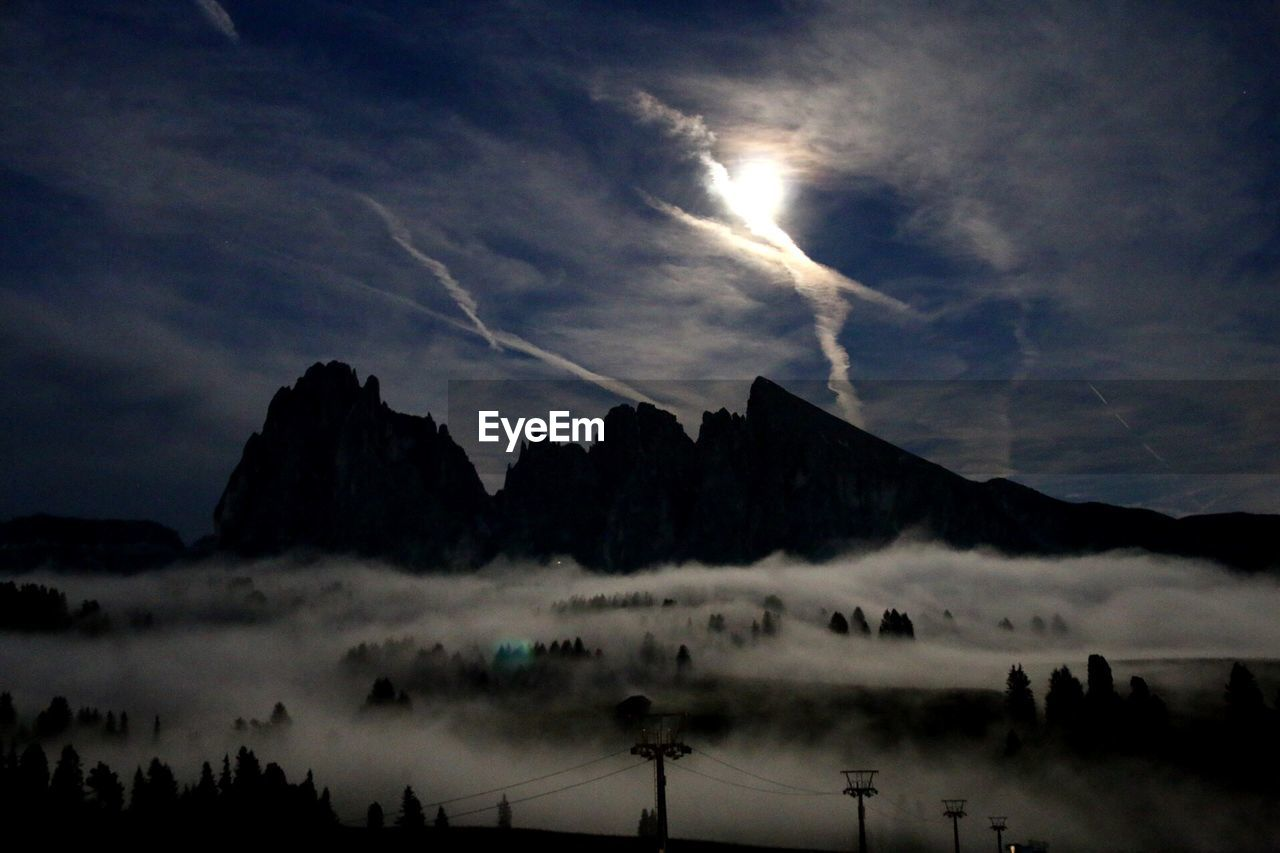 Forest in fog and mountain on background