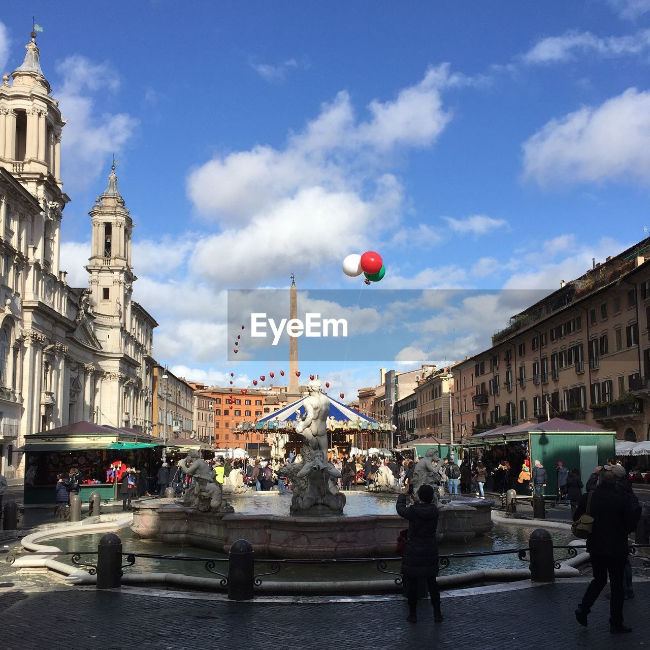 Fountain Of The Four Rivers At Piazza Navona Against Sky