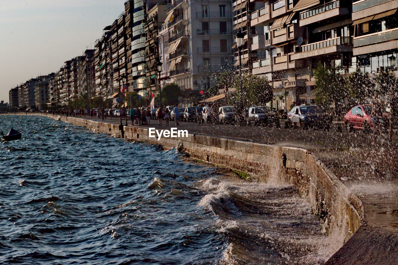 Sea Waves Splashing On Promenade In City