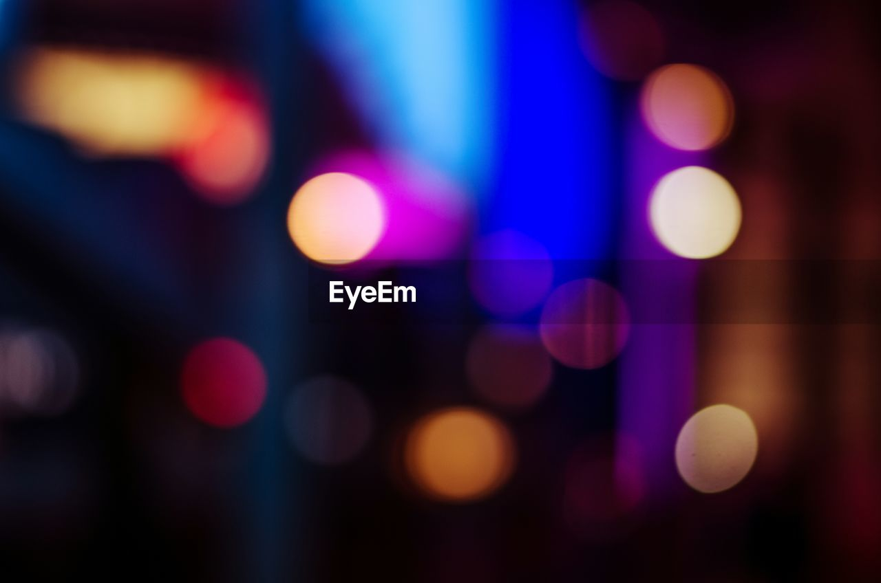 illuminated, lighting equipment, night, light effect, defocused, glowing, backgrounds, no people, multi colored, close-up, full frame, outdoors, disco lights