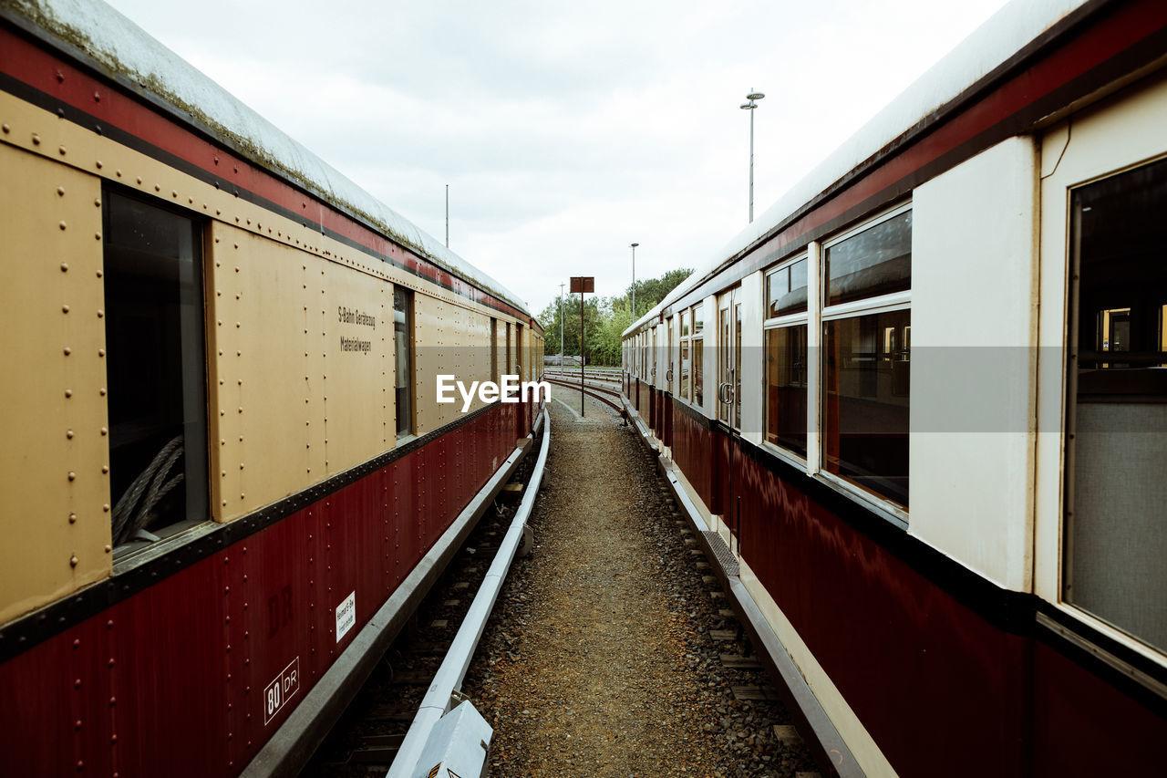 Trains on railroad track