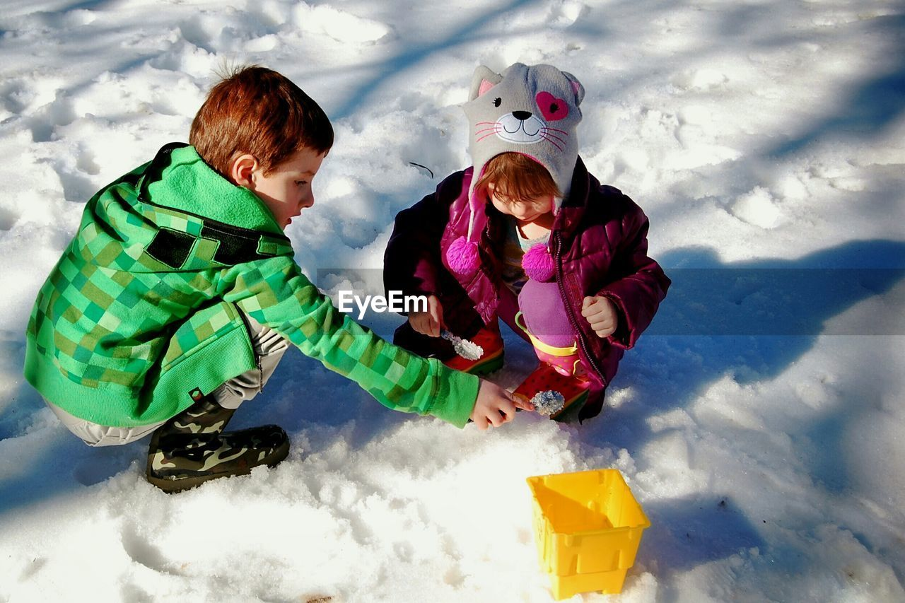 High Angle View Of Siblings Playing Together In Snow