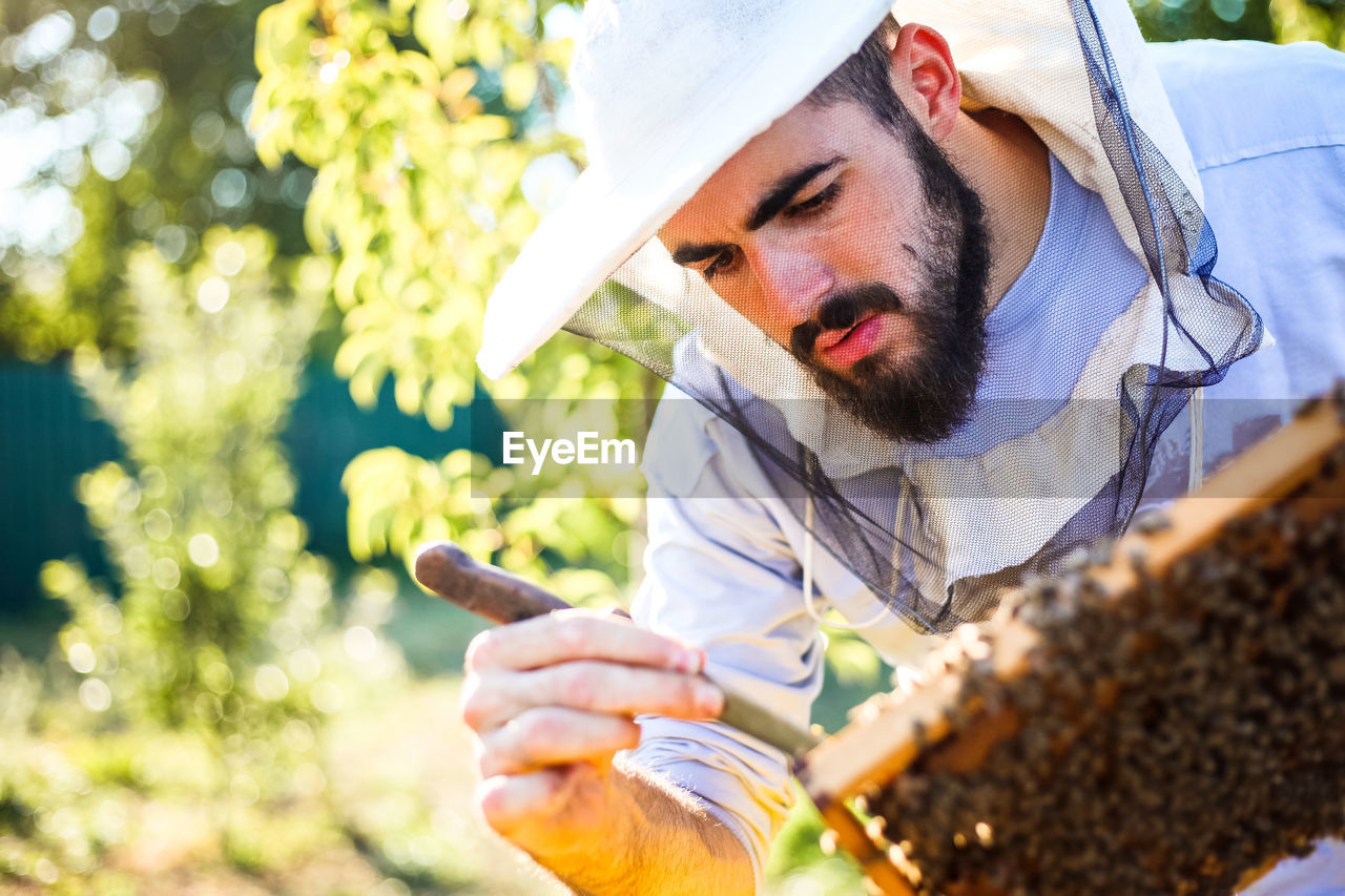 Beekeeper Working By Plants On Field During Sunny Day