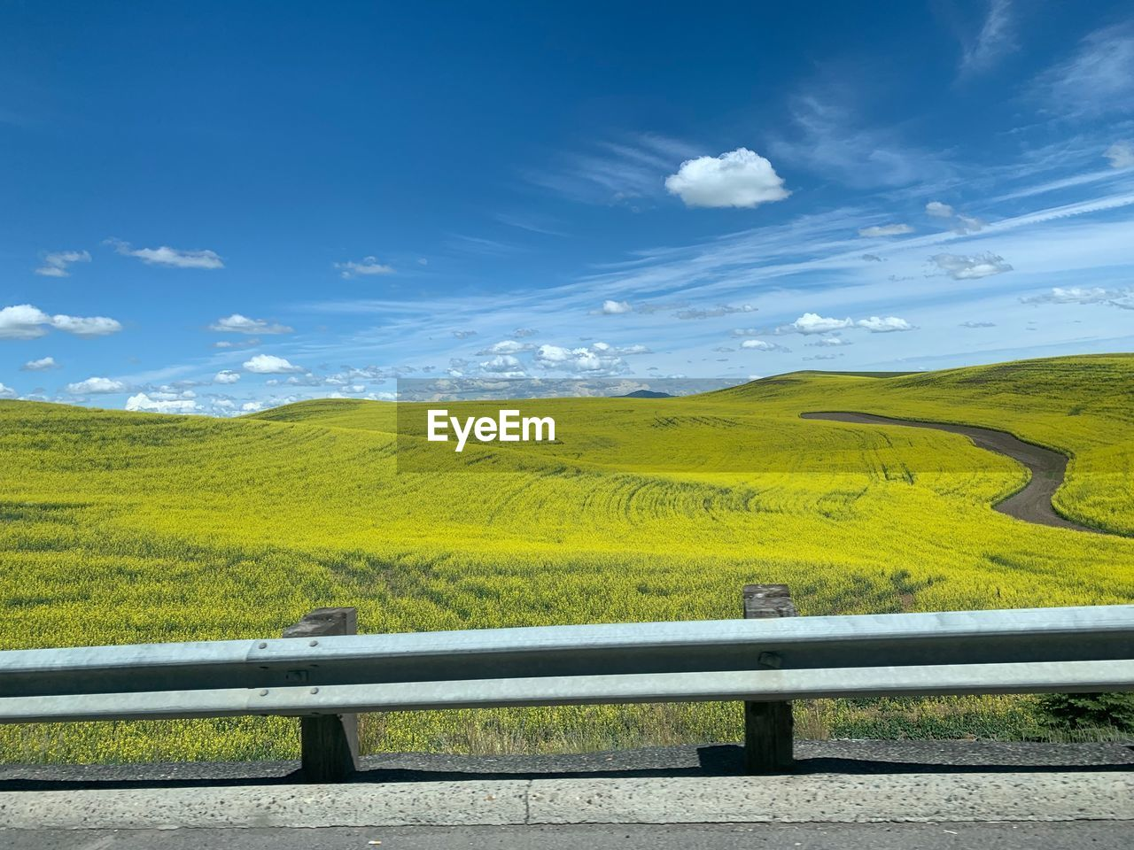 scenics - nature, environment, sky, beauty in nature, landscape, cloud - sky, tranquil scene, railing, tranquility, non-urban scene, nature, day, no people, field, plant, land, green color, barrier, road, idyllic, outdoors, crash barrier