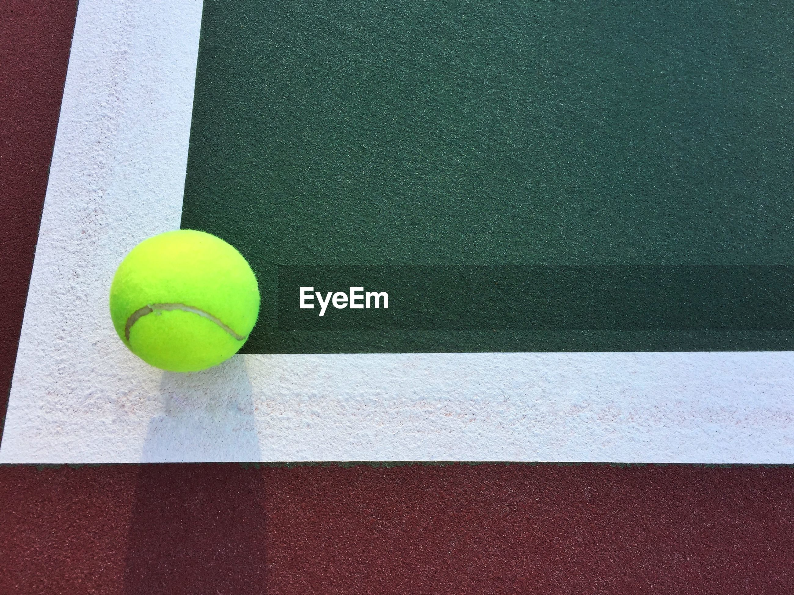 High angle view of ball at tennis court