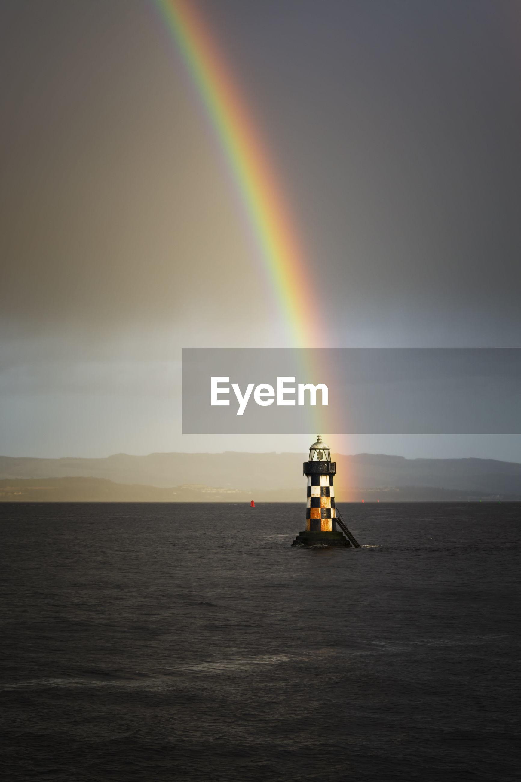 SCENIC VIEW OF RAINBOW OVER SEA
