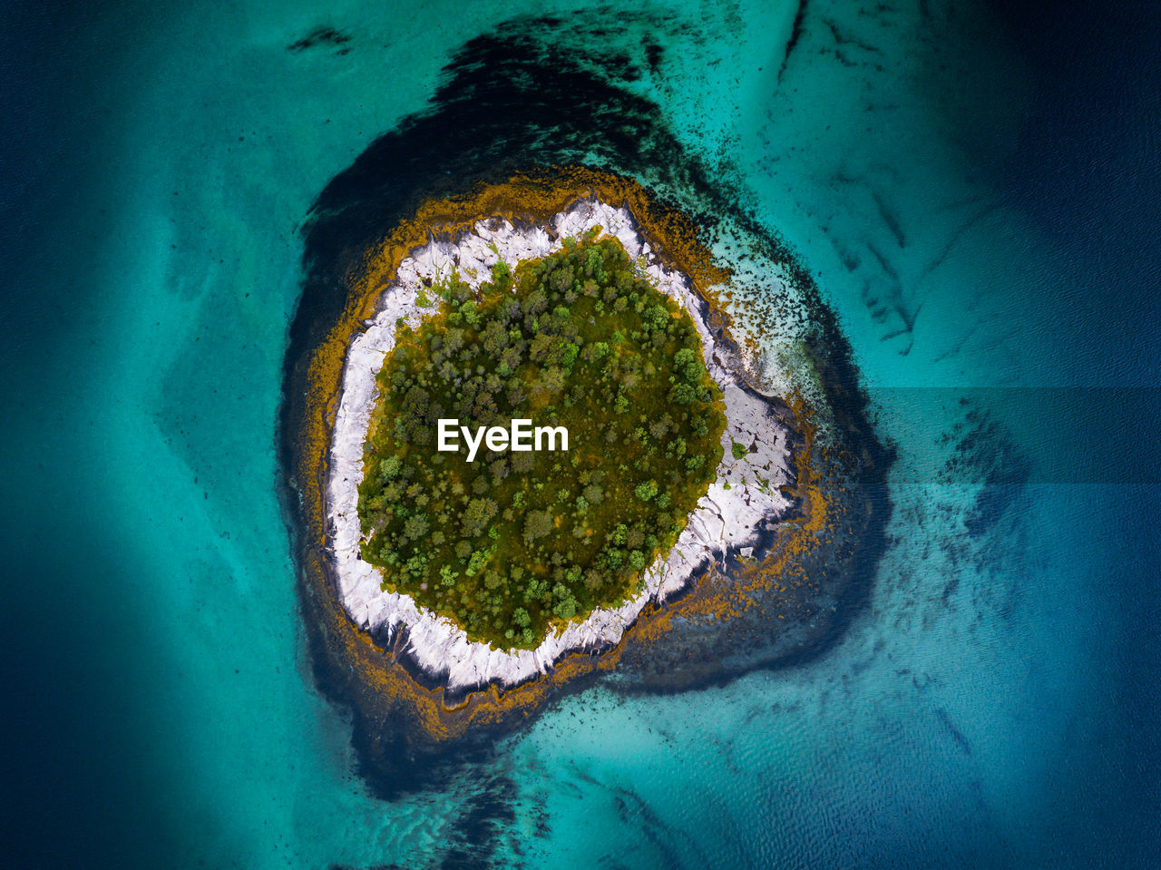 Aerial view of island surrounded by sea