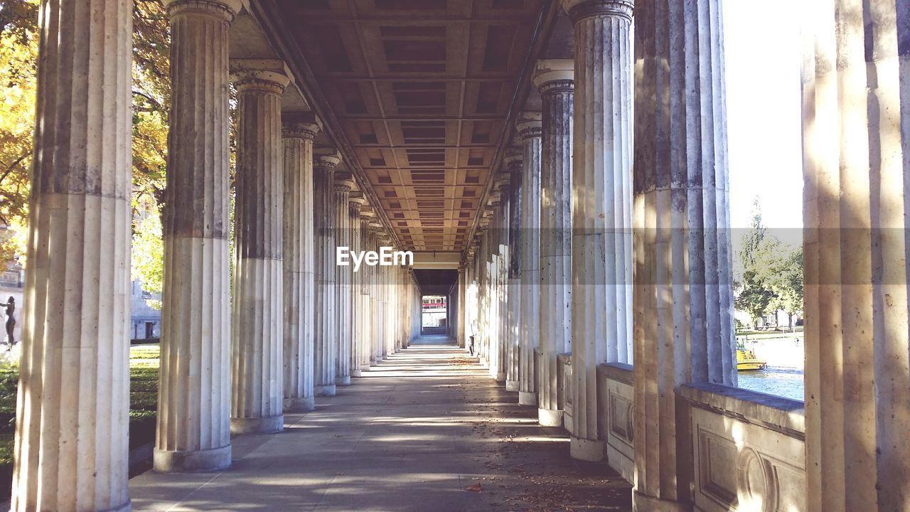 Colonnade corridor in museum