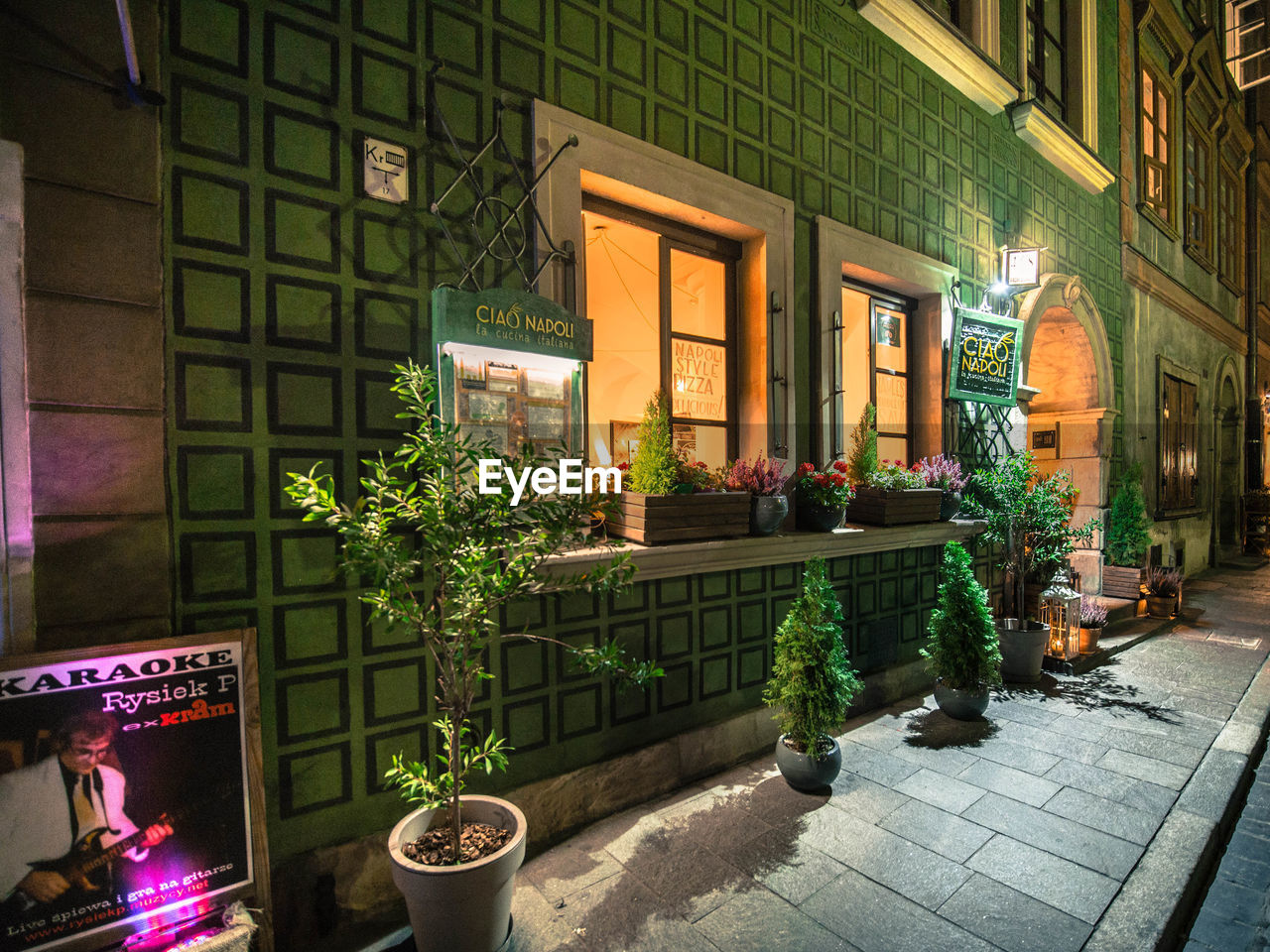 architecture, built structure, plant, building exterior, potted plant, building, flower, window, flowering plant, illuminated, city, nature, no people, outdoors, entrance, night, text, street, growth, flower pot