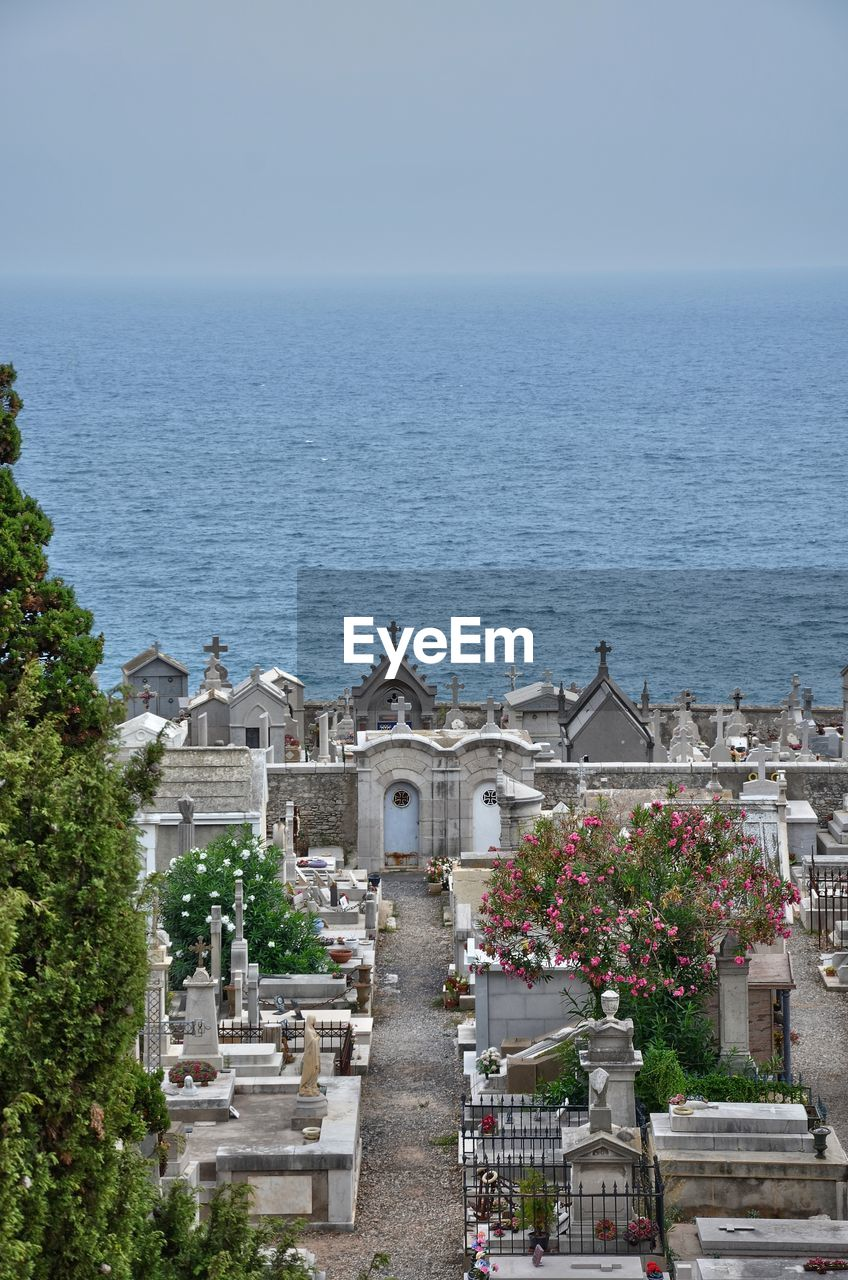 High Angle View Of Cemetery At Seaside