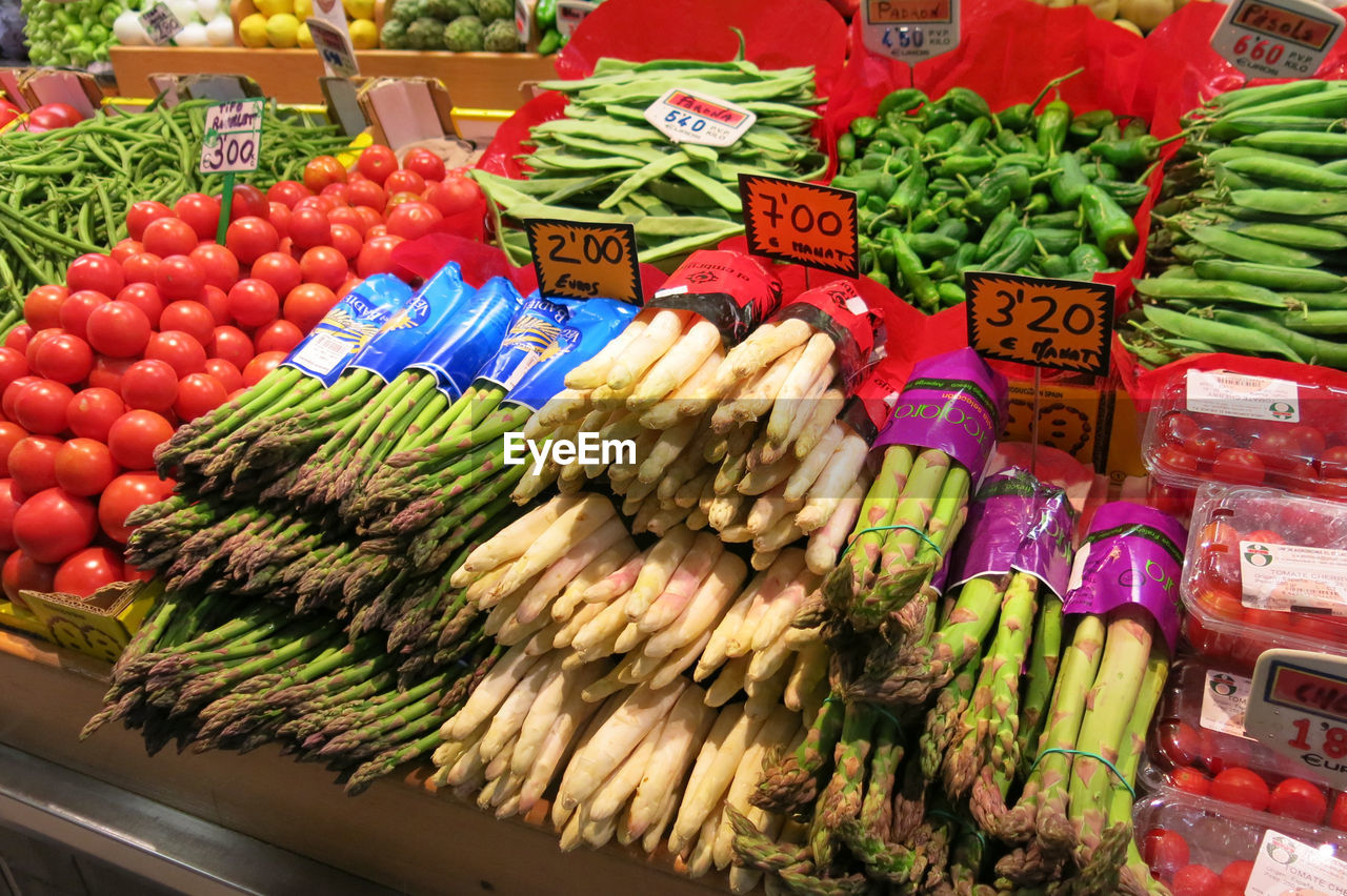 food and drink, food, choice, freshness, large group of objects, retail, for sale, price tag, market, variation, wellbeing, abundance, healthy eating, vegetable, multi colored, no people, market stall, high angle view, communication, text, sale, retail display