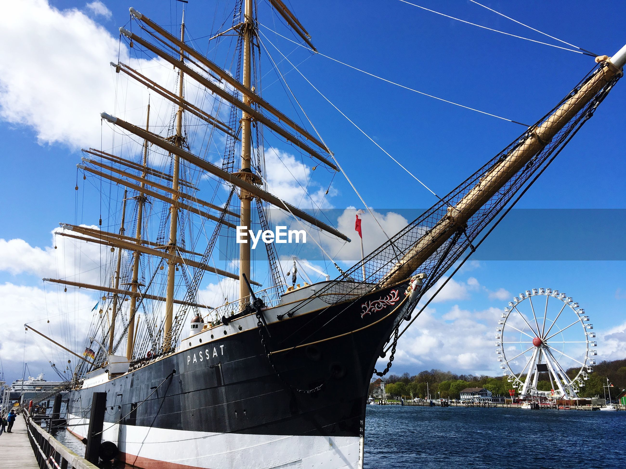 nautical vessel, sky, transportation, mode of transportation, sailboat, day, ship, nature, no people, cloud - sky, water, mast, low angle view, architecture, outdoors, sea, pole, rope, built structure