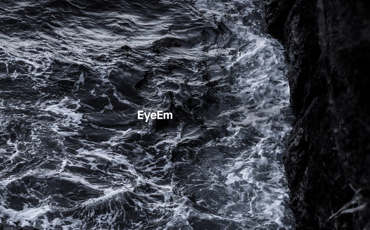backgrounds, full frame, no people, abstract, pattern, nature, abstract backgrounds, textured, motion, dark, close-up, black background, water, outdoors, gray, rough, tranquility, beauty in nature, power in nature, flowing