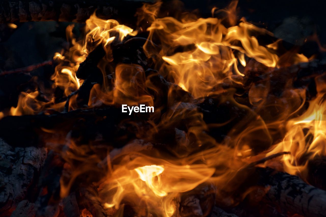 Close-Up Of Lit Bonfire