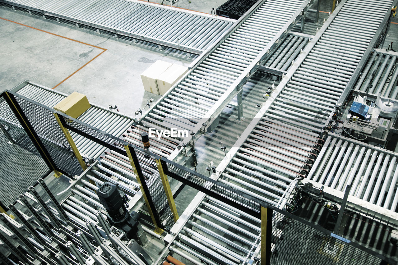 High angle view of roll way in factory