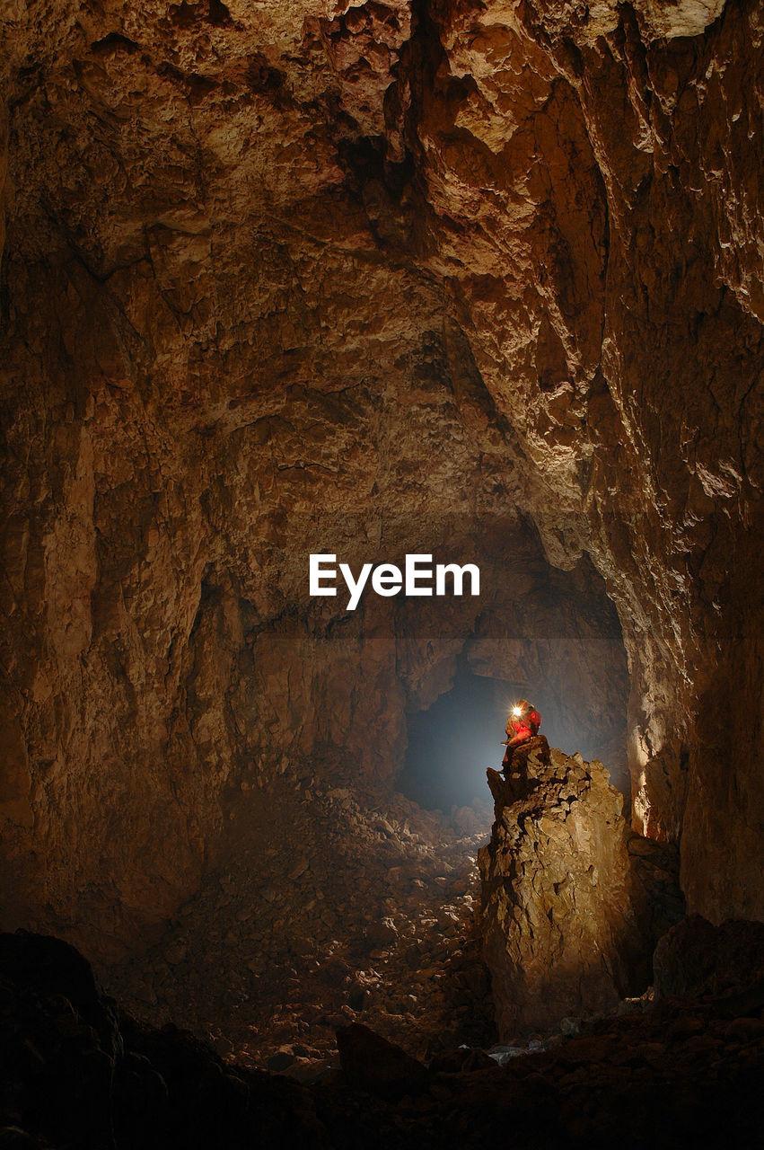 Illuminated Cave Interior