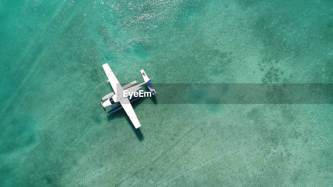 High Angle View Of Seaplane In Sea