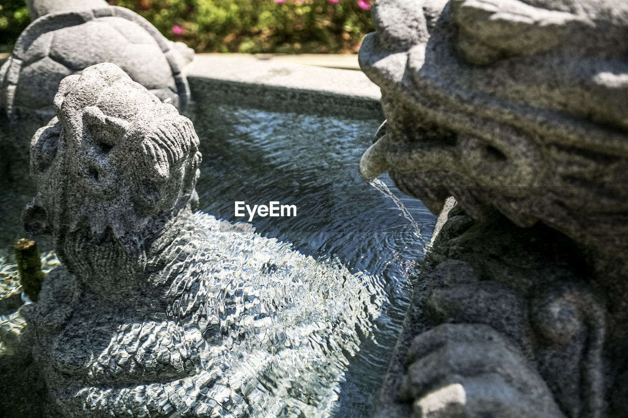 water, rock - object, statue, day, no people, sculpture, nature, high angle view, outdoors, beauty in nature, waterfall, close-up