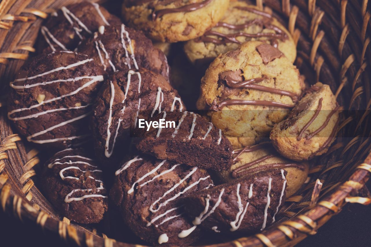 Close-up of cookies in wicker basket