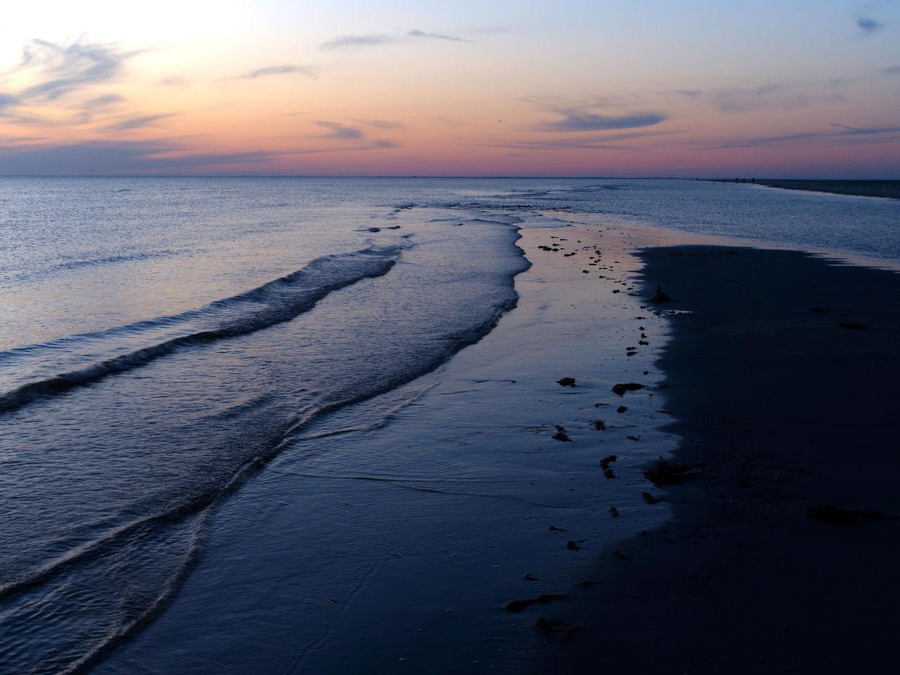 sky, sea, sunset, water, scenics - nature, horizon over water, horizon, beauty in nature, beach, tranquility, land, tranquil scene, cloud - sky, nature, no people, idyllic, outdoors, orange color, non-urban scene