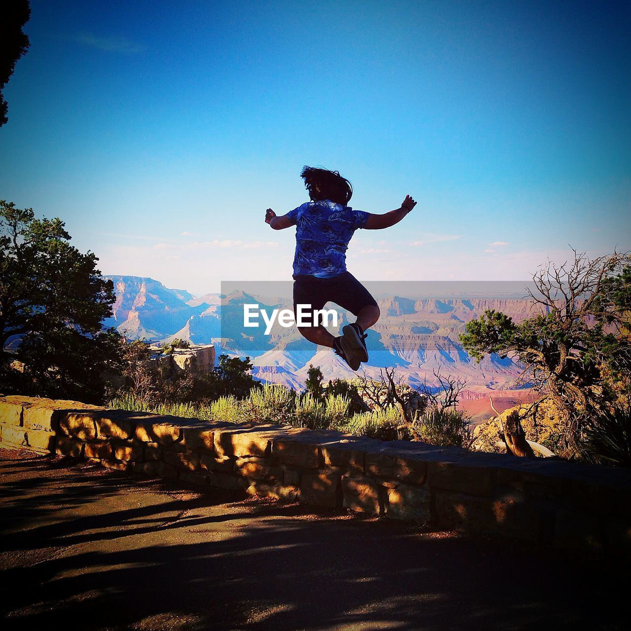 full length, jumping, blue, mid-air, energetic, clear sky, mountain, tree, day, nature, outdoors, one person, sky, men, people