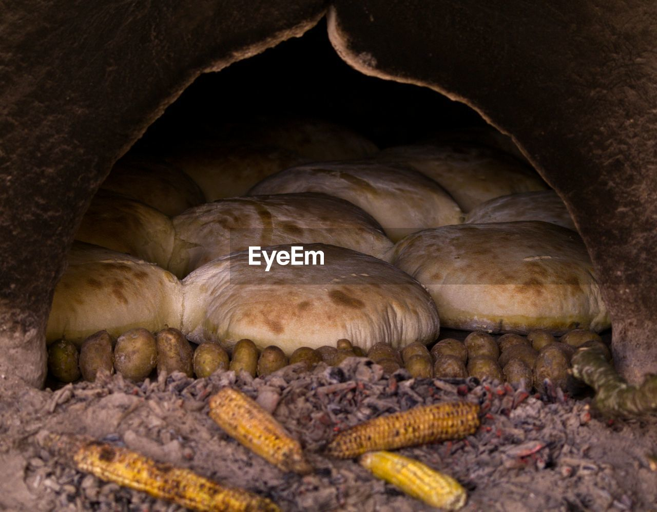 Close-up of food in traditional oven