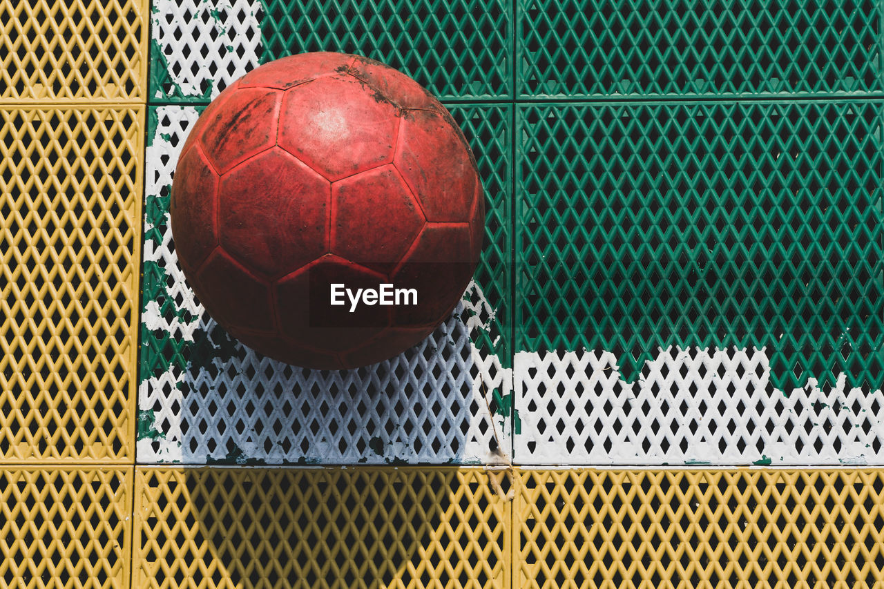 High angle view of soccer ball on floor