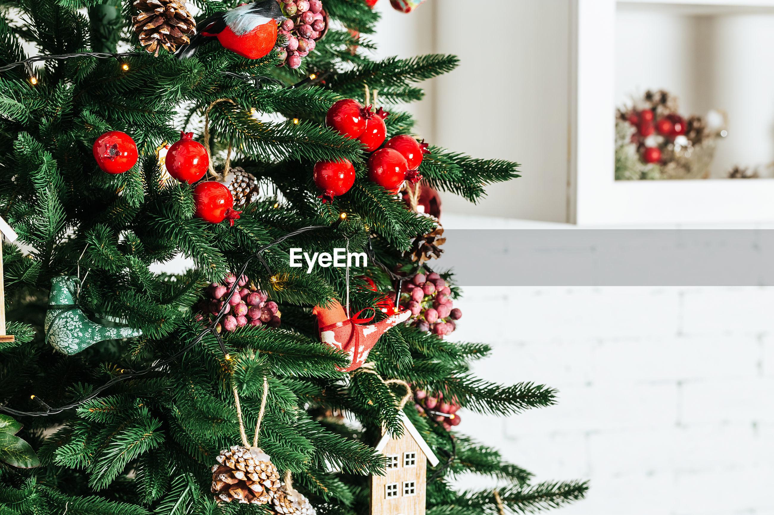 Close-up of christmas tree at home