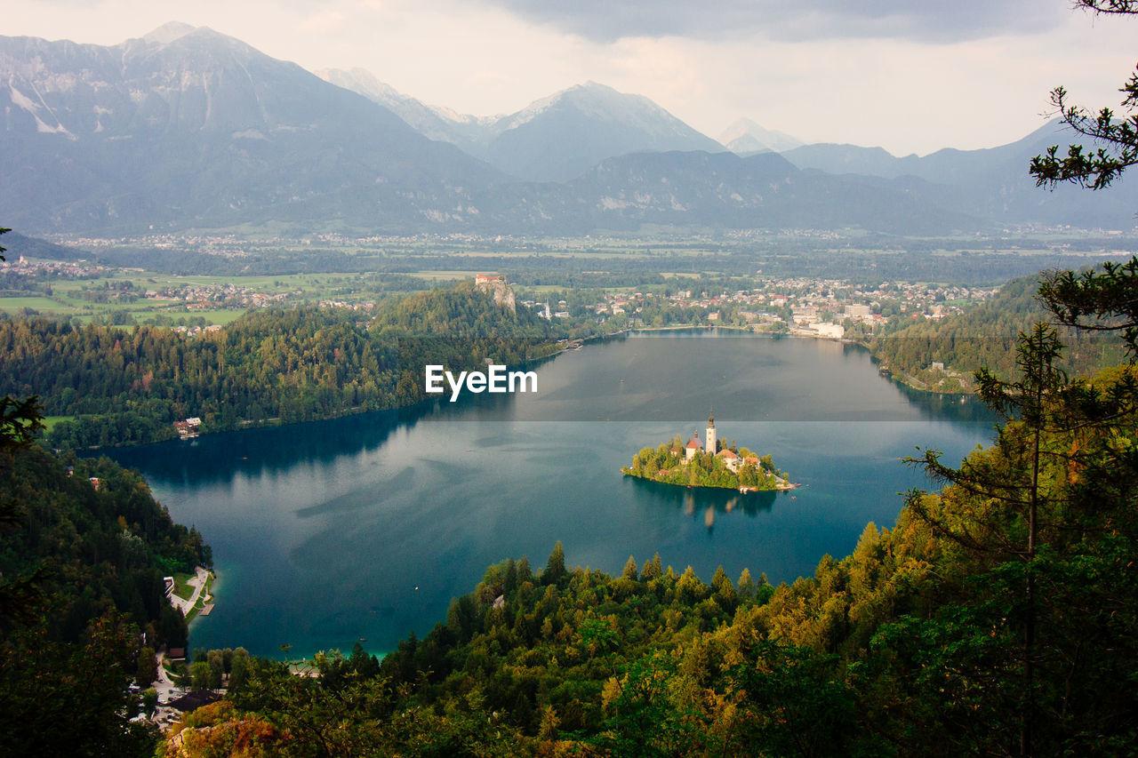 High Angle View Of Lake With An Island