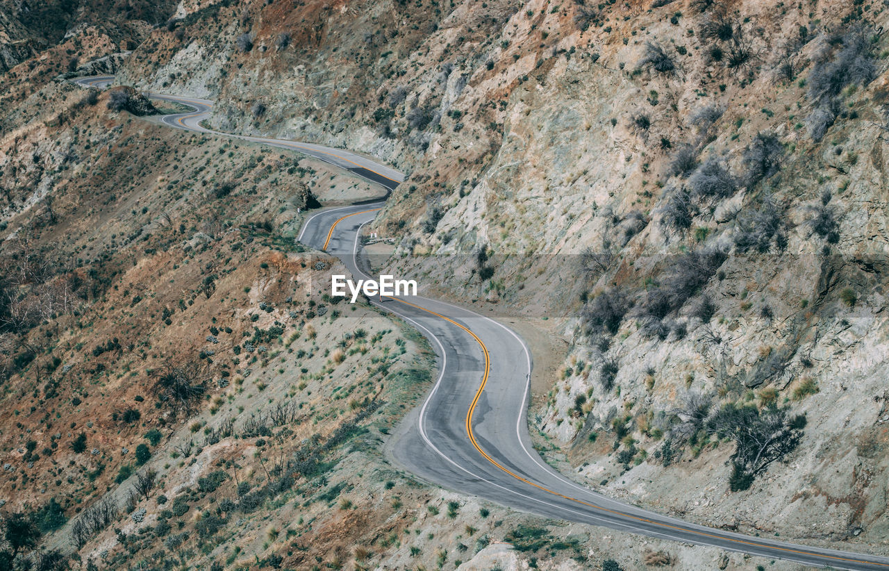 High Angle View Of Road Passing Through Mountain
