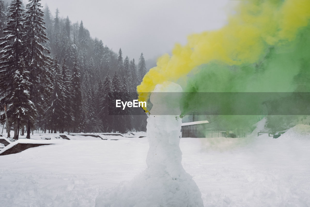 winter, cold temperature, snow, tree, smoke - physical structure, beauty in nature, plant, white color, nature, day, scenics - nature, land, no people, non-urban scene, tranquil scene, environment, water, covering, yellow, outdoors, power in nature, powder snow
