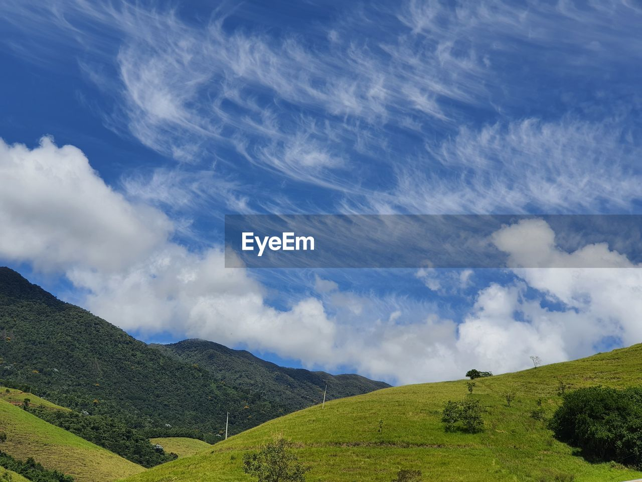 IDYLLIC SHOT OF GREEN LANDSCAPE AGAINST SKY